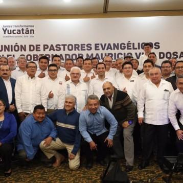 Líderes evangélicos en Yucatán respaldan trabajo del Gobernador