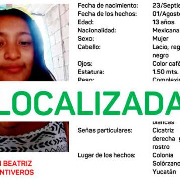 Localizan a menor reportada como desaparecida en la Amalia Solórzano