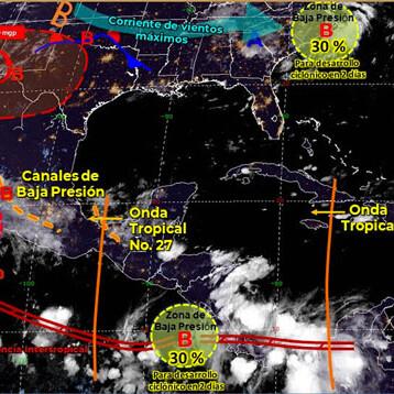 Tormentas dispersas en Yucatán por onda tropical 27