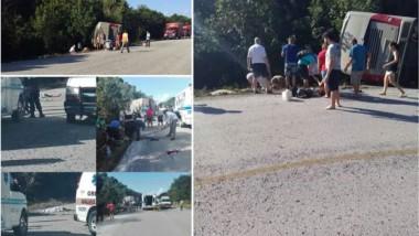 Mueren 12 turistas al volcar el camión donde viajaban
