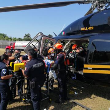Motociclista accidentado trasladado de urgencia a Mérida