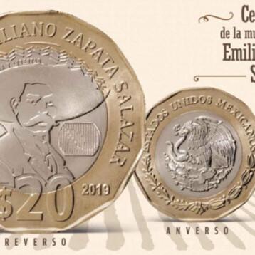 Circula nueva moneda de 20 pesos con Emiliano Zapata