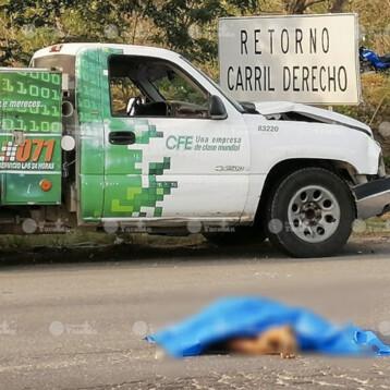 Muere atropellada por trabajador de la CFE