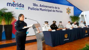 Celebran 18 años de la Policía Municipal de Mérida